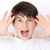 Portrait of happy joyful beautiful little boy isolated on white background — Stockfoto