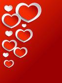 红色和白色的心 — 图库矢量图片