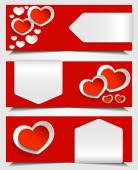 Red and white hearts — Stock Vector