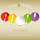 Restaurant logo with colorful dishes — Stock Vector