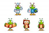 Médico bonito conjunto de ilustrações de formiga. — Vetor de Stock