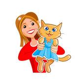 Girl with a kitty cat — Stockvektor