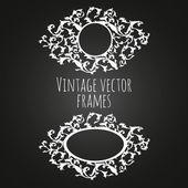 Vintage vector frames on chalkboard background. — Stock Vector