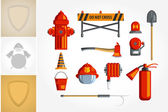 Colorful vintage flat icon set or illustration for infographic Equipment for firefighter or volunteer — Stock Vector