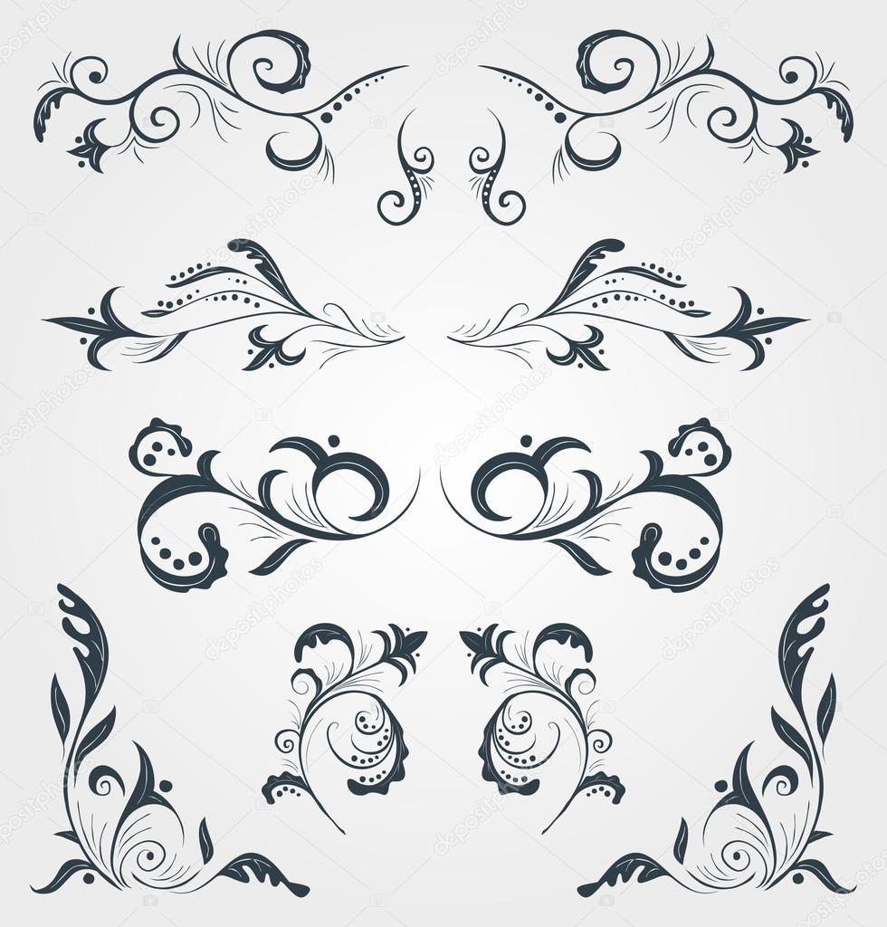 Set Of Vector Vintage Floral Calligraphy Decorative