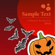 Halloween background is with pumpkin and bats — Stock Vector #71103701
