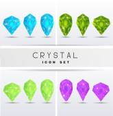 Icons in the form of crystals — Stock Vector