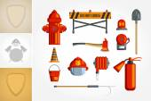 Equipment for firefighter or volunteer. — Stock Vector
