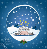 Christmas or New Year card with sheep — Stock Vector