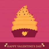 Valentine's Day card with cupcake and hearts — Vector de stock