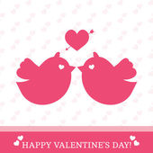 Valentine's Day card with birds in love — Stock Vector