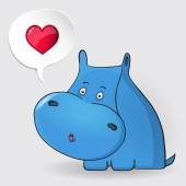 Hippopotamus thinking about love. Speech bubble with heart. Love concept. — Stock Vector