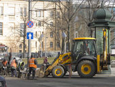 Road works in the city center — Stock Photo