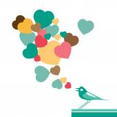 Hearts and bird  — Stock Vector