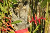 Hindu deity surrounded by Bird of paradise flowers — Stock Photo