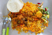 Delicious spicy Biryani lamb curry and rice — Stock Photo