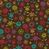 Colorful doodle floral seamless pattern — Stock Vector