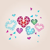 Faceted cute hearts — Stock Vector