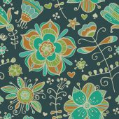 Decorative seamless pattern with flowers — Stockvektor