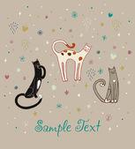 面白いかわいい猫のセット — ストックベクタ