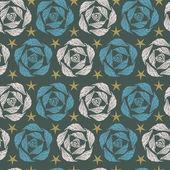 Seamless stylized vintage rose texture — Vector de stock