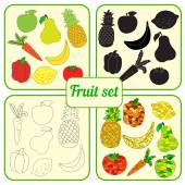 Fruit set with colorful, black and white and contour fruits — Stock Vector