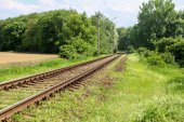 Railroad in country — Stock Photo