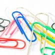 Colorful paperclips on white background isolated — Stock Photo #65351589