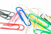 Colorful paperclips on white background isolated — Stock Photo