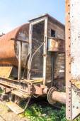 Old rusty, tank wagon, with cab, brake and wheels detail — Stock Photo