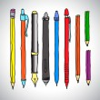 Vector sketch of pencils and pens — Stock Vector #62727853