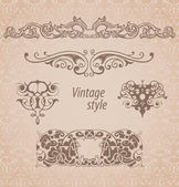 Vintage monogram frames — Stock Vector