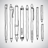 Vector sketch of pencils and pens — Stockvector