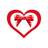 Valentines heart and bow — Stockvector