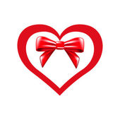 Valentines heart and bow — Vecteur