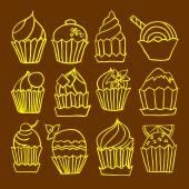 Cupcakes doodle vector — Stock Vector