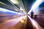 Blurred Airport Tunnel — Stock Photo