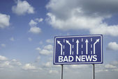 Sign o the Times Bad news — Stock Photo