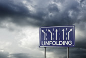 Sign o the Times Unfolding — Stock Photo