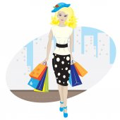 Pretty girl with shopping — Stock Vector