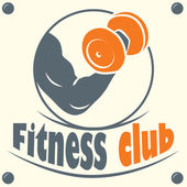 Fitness club logo with a silhouette of a man — Stock Vector