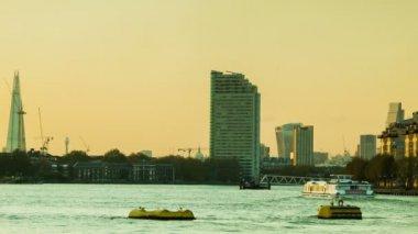 London Sunset, Thames, Shard, City — Stock Video