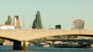 Waterloo bridge at daytime, City of London in the background — Stock Video