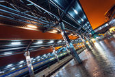 Railway station at night — Stock Photo
