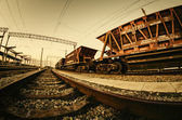 Cargo railway shipping industry and freight railroad transportat — Stock Photo