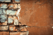 Background of colorful brick wall texture. brickwork. Peeling paint. Pattern of rustic grunge material. — Fotografia Stock