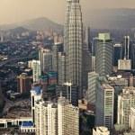View of Petronas Twin Towers from Menara KL, Kuala Lumpur — Stock Photo #64304069