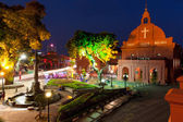 Night view of the Christ Church and the Dutch Square, Malacca — Stock Photo