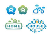 Set of logos and icons with houses — Stock Vector
