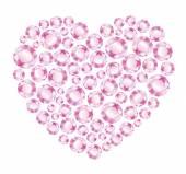Heart of pink shiny diamonds — Stock Vector